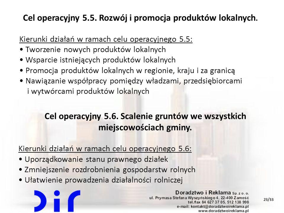 Cel operacyjny 5.5. Rozwój i promocja produktów lokalnych.