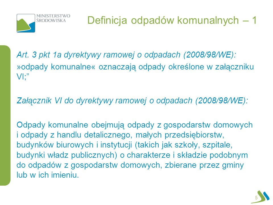 Definicja odpadów komunalnych – 1