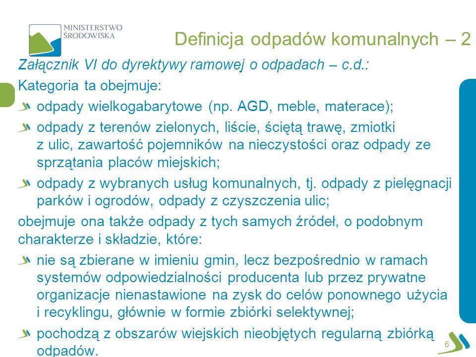 Definicja odpadów komunalnych – 2