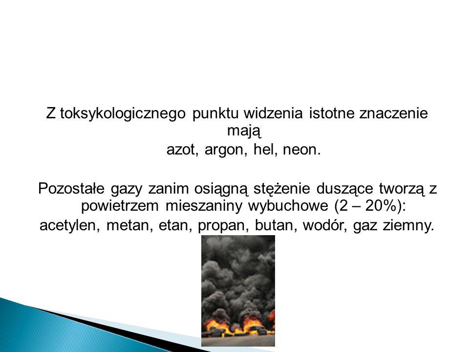 Z toksykologicznego punktu widzenia istotne znaczenie mają azot, argon, hel, neon.