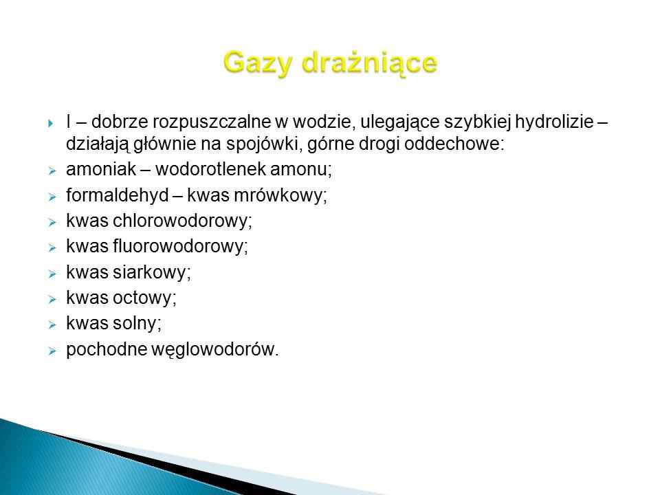 Gazy drażniące I – dobrze rozpuszczalne w wodzie, ulegające szybkiej hydrolizie – działają głównie na spojówki, górne drogi oddechowe: