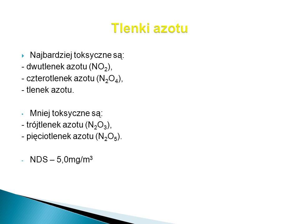 Tlenki azotu Najbardziej toksyczne są: - dwutlenek azotu (NO2),