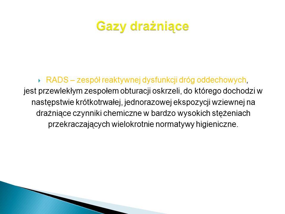 Gazy drażniące RADS – zespół reaktywnej dysfunkcji dróg oddechowych,