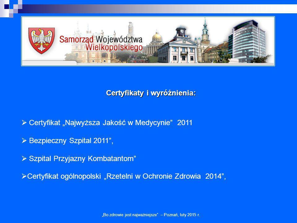 Certyfikaty i wyróżnienia: