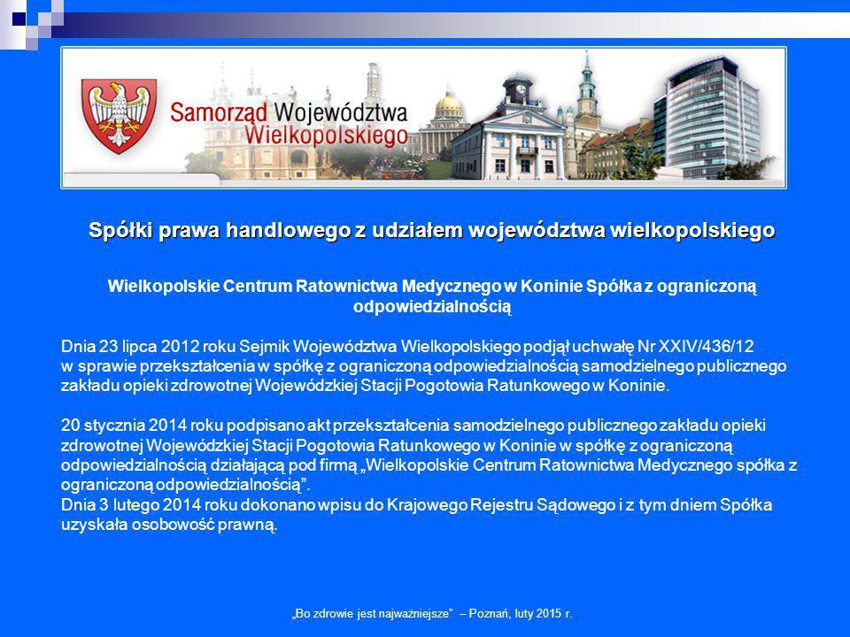 Spółki prawa handlowego z udziałem województwa wielkopolskiego