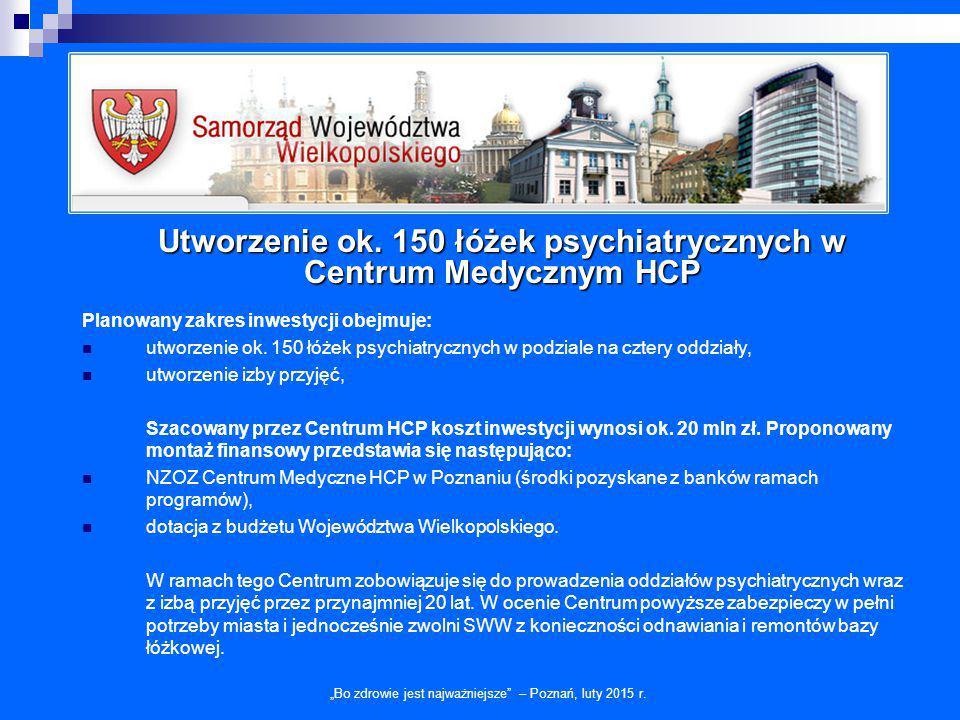 Utworzenie ok. 150 łóżek psychiatrycznych w Centrum Medycznym HCP
