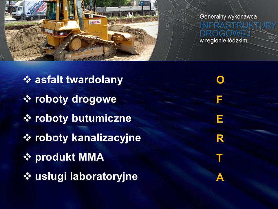 asfalt twardolany roboty drogowe. roboty butumiczne. roboty kanalizacyjne. produkt MMA. usługi laboratoryjne.