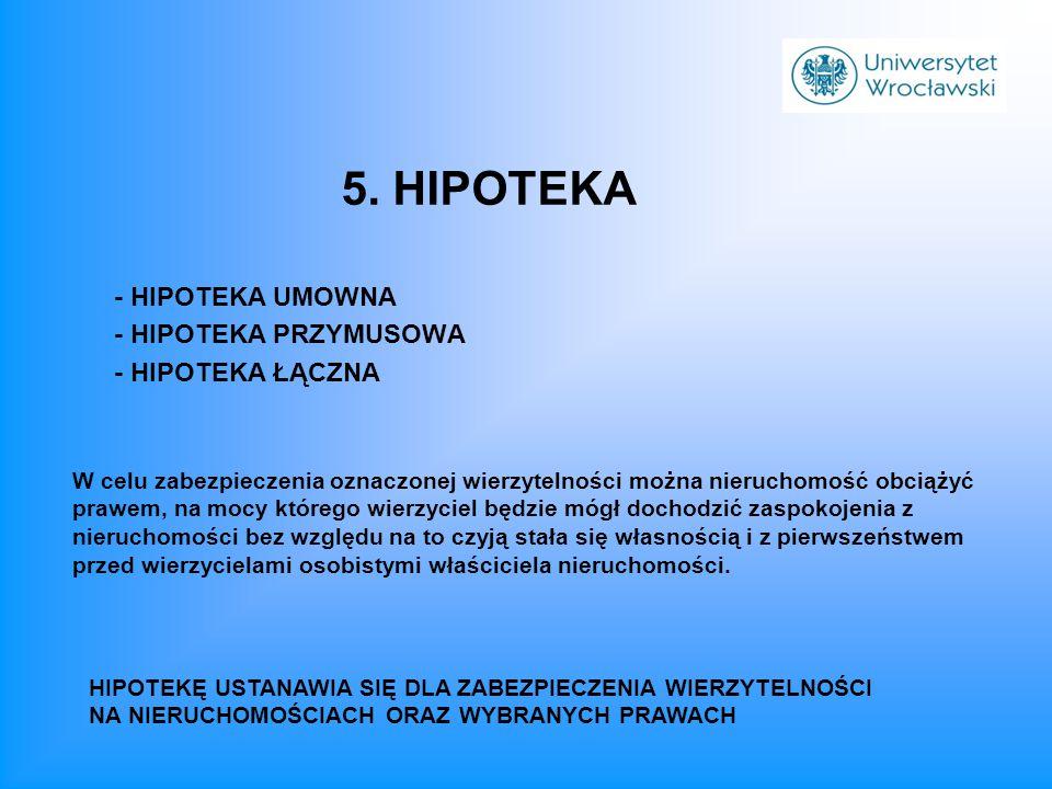 5. HIPOTEKA - HIPOTEKA UMOWNA - HIPOTEKA PRZYMUSOWA - HIPOTEKA ŁĄCZNA
