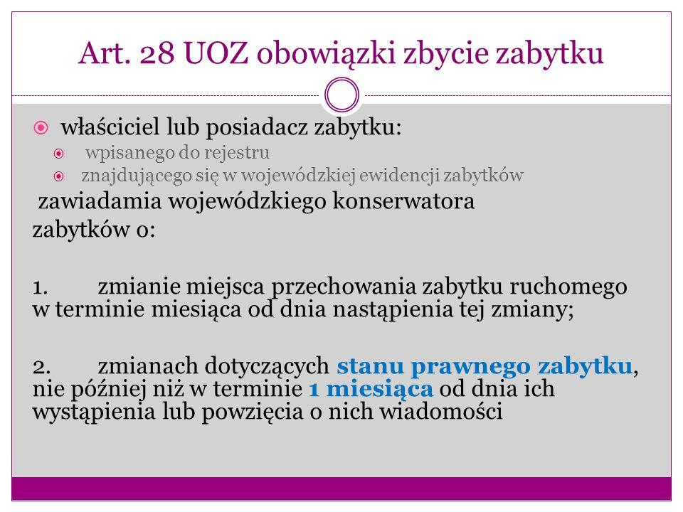Art. 28 UOZ obowiązki zbycie zabytku