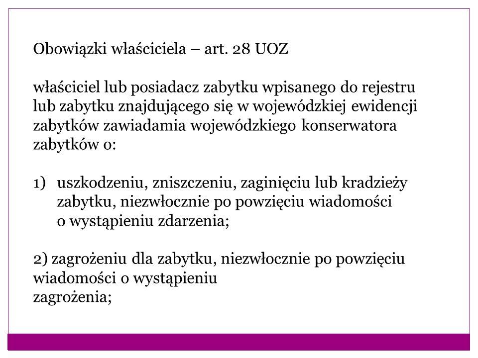 Obowiązki właściciela – art. 28 UOZ