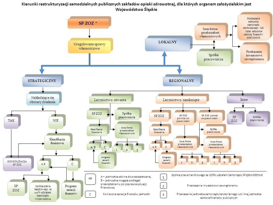 Kierunki restrukturyzacji samodzielnych publicznych zakładów opieki zdrowotnej, dla których organem założycielskim jest Województwo Śląskie
