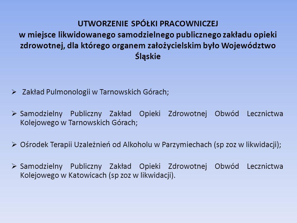 UTWORZENIE SPÓŁKI PRACOWNICZEJ w miejsce likwidowanego samodzielnego publicznego zakładu opieki zdrowotnej, dla którego organem założycielskim było Województwo Śląskie