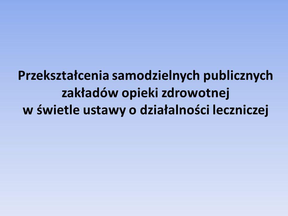Przekształcenia samodzielnych publicznych zakładów opieki zdrowotnej w świetle ustawy o działalności leczniczej
