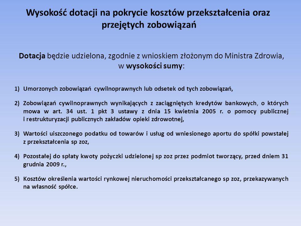 Dotacja będzie udzielona, zgodnie z wnioskiem złożonym do Ministra Zdrowia, w wysokości sumy: