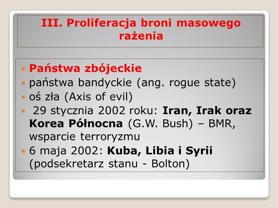 III. Proliferacja broni masowego rażenia