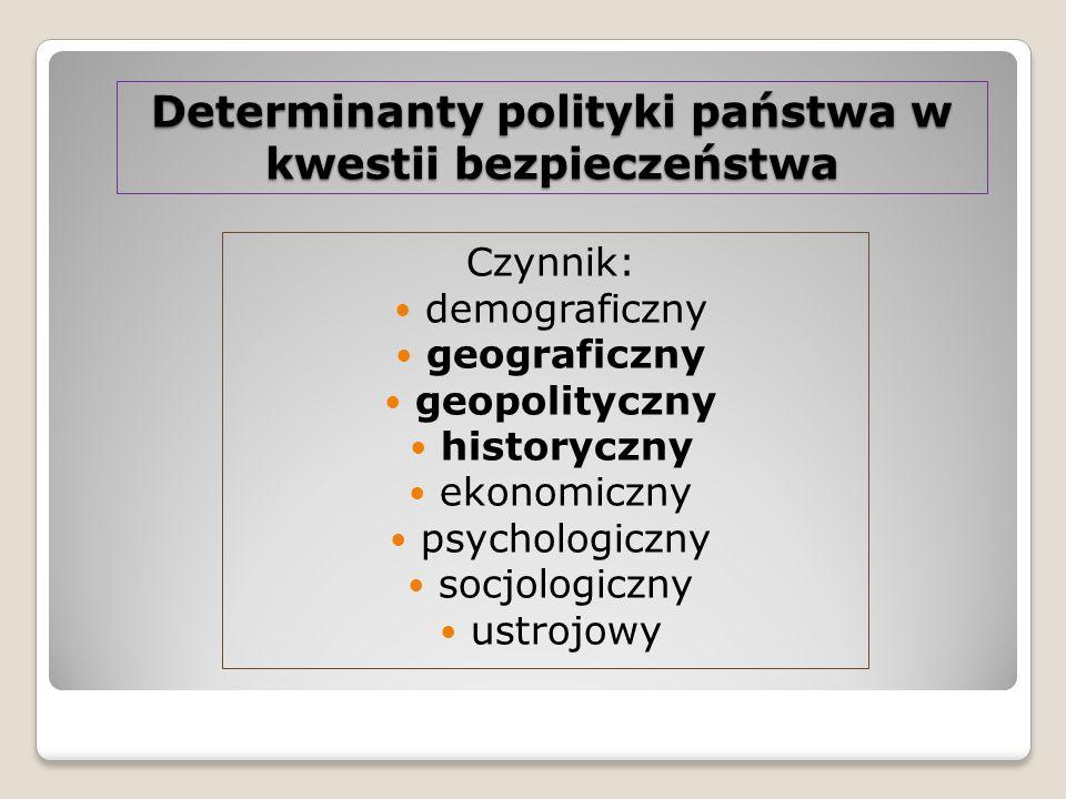 Determinanty polityki państwa w kwestii bezpieczeństwa