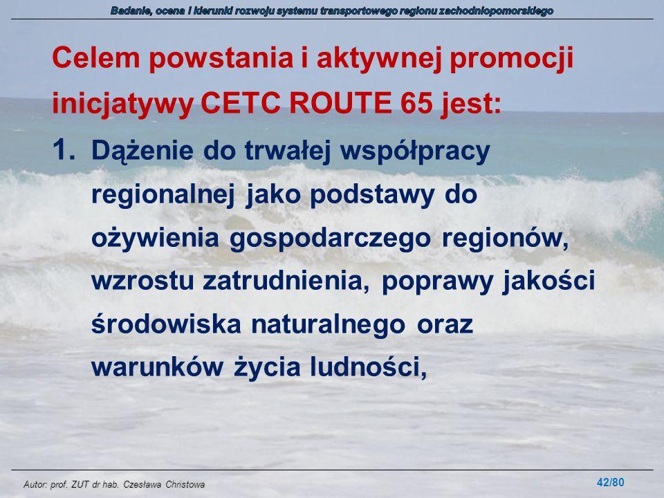 Celem powstania i aktywnej promocji inicjatywy CETC ROUTE 65 jest:
