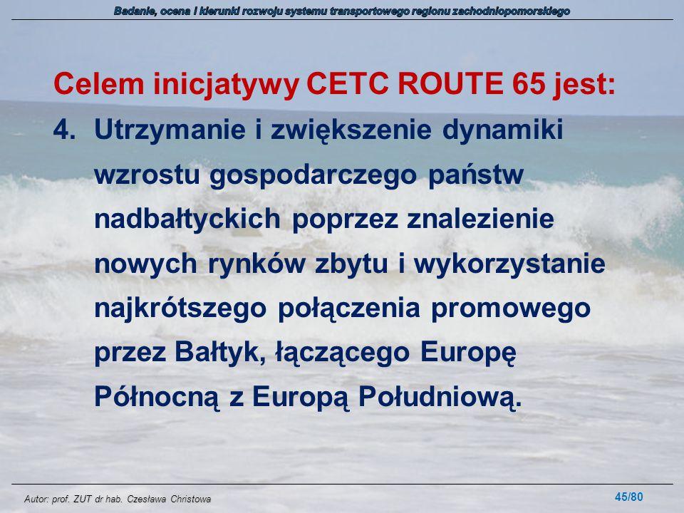 Celem inicjatywy CETC ROUTE 65 jest: