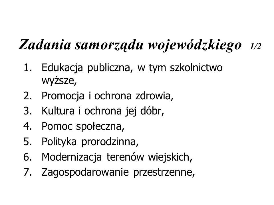 Zadania samorządu wojewódzkiego 1/2