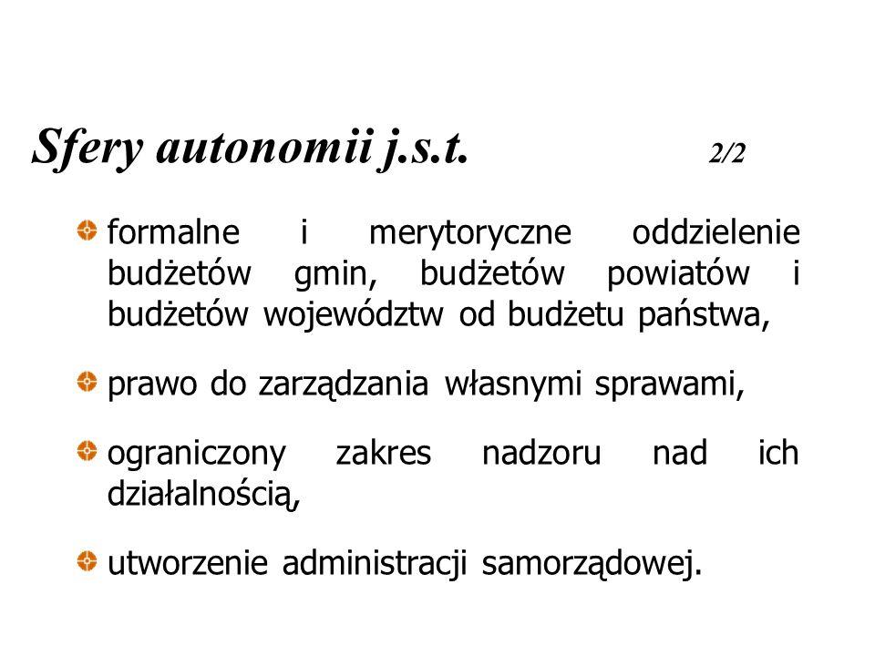 Sfery autonomii j.s.t. 2/2 formalne i merytoryczne oddzielenie budżetów gmin, budżetów powiatów i budżetów województw od budżetu państwa,