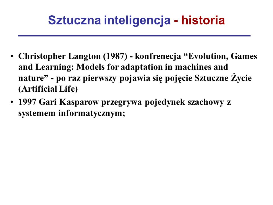 Sztuczna inteligencja - historia