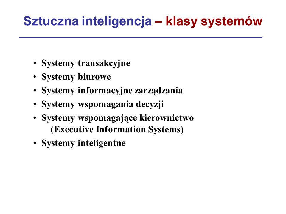 Sztuczna inteligencja – klasy systemów