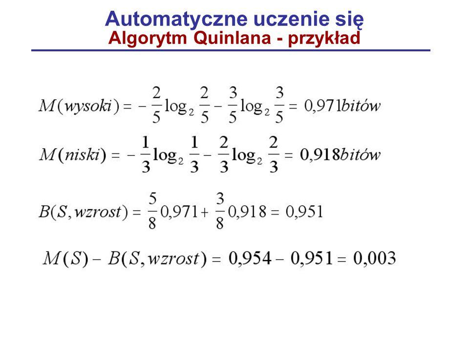 Automatyczne uczenie się Algorytm Quinlana - przykład