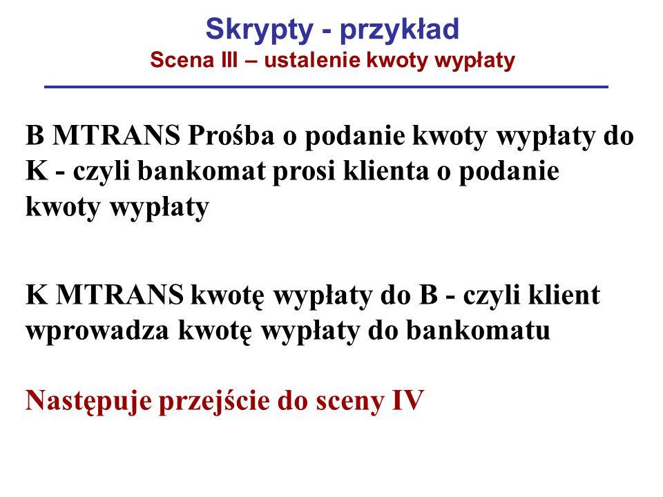 Skrypty - przykład Scena III – ustalenie kwoty wypłaty