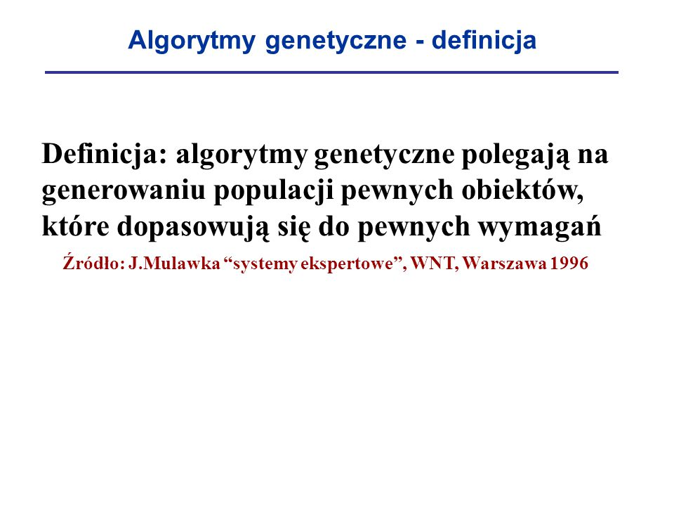 Algorytmy genetyczne - definicja
