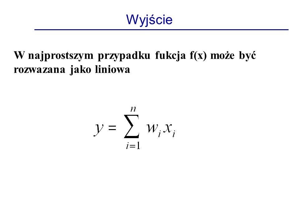Wyjście W najprostszym przypadku fukcja f(x) może być rozwazana jako liniowa