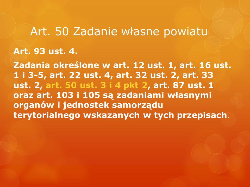 Art. 50 Zadanie własne powiatu