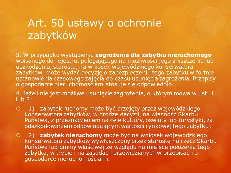 Art. 50 ustawy o ochronie zabytków