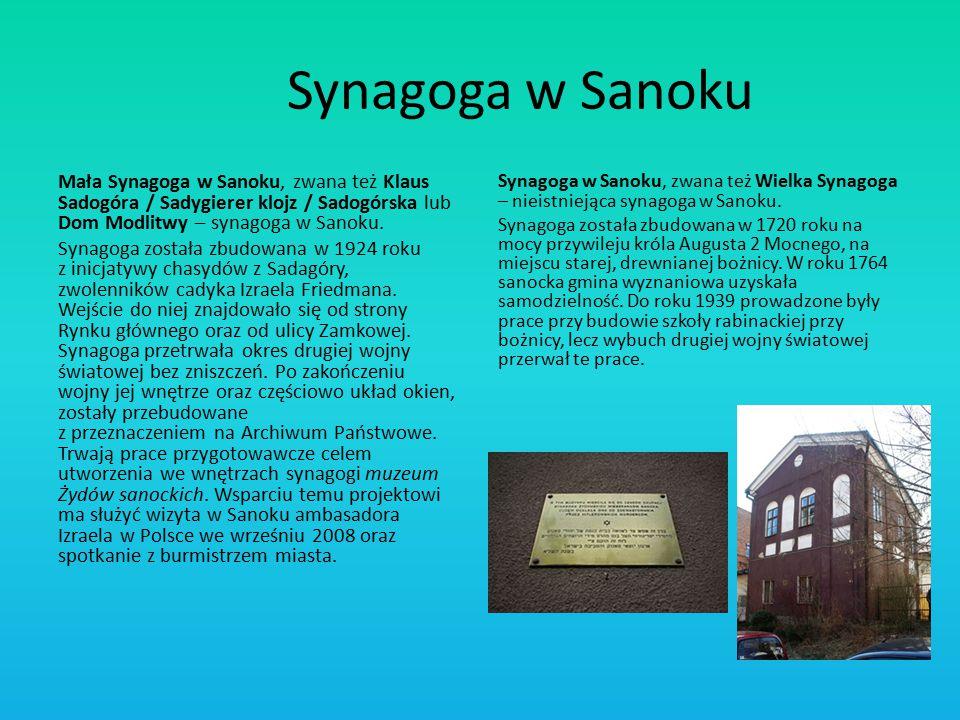 Synagoga w Sanoku Mała Synagoga w Sanoku, zwana też Klaus Sadogóra / Sadygierer klojz / Sadogórska lub Dom Modlitwy – synagoga w Sanoku.