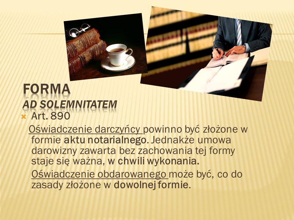 Forma AD SOLEMNITATEM Art. 890