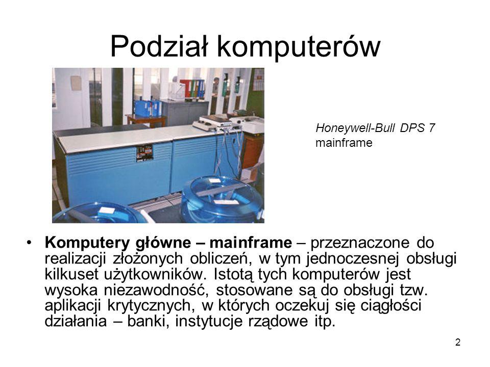 Podział komputerów Honeywell-Bull DPS 7 mainframe.