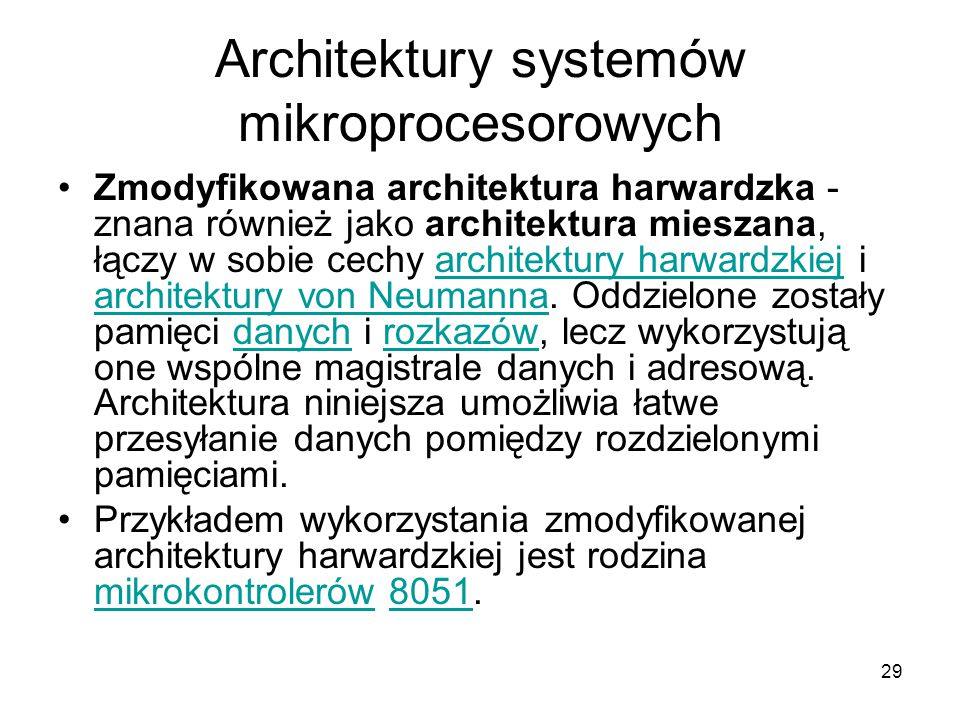 Architektury systemów mikroprocesorowych