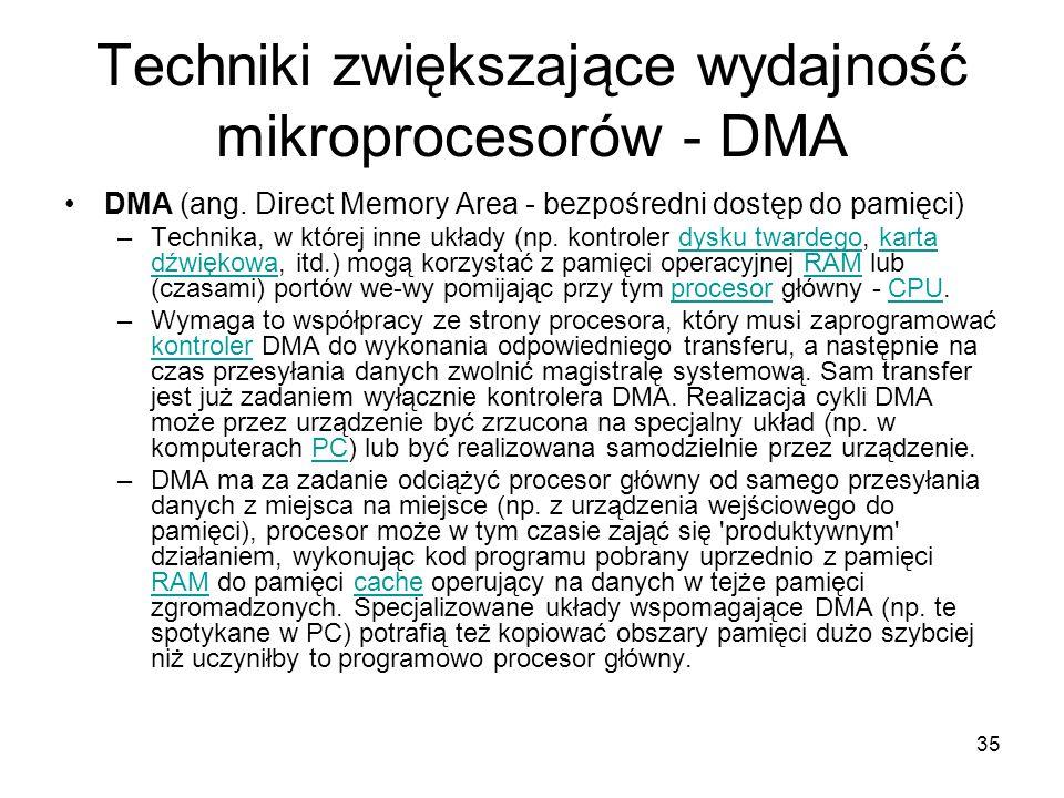 Techniki zwiększające wydajność mikroprocesorów - DMA