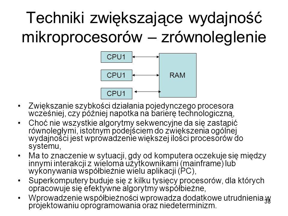 Techniki zwiększające wydajność mikroprocesorów – zrównoleglenie