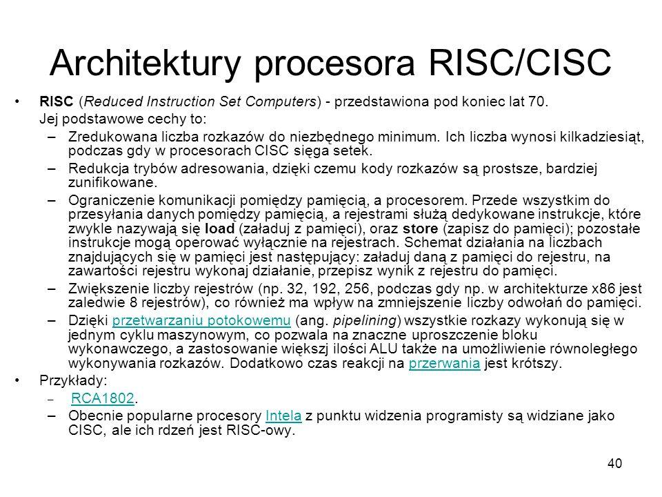 Architektury procesora RISC/CISC