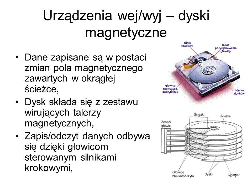Urządzenia wej/wyj – dyski magnetyczne