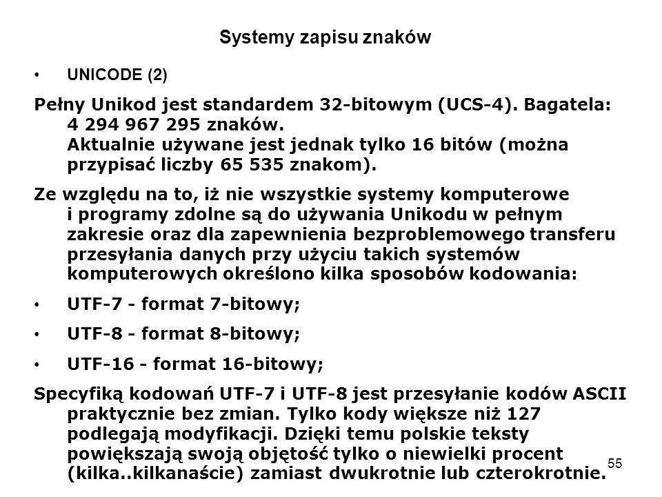 Systemy zapisu znaków UNICODE (2)