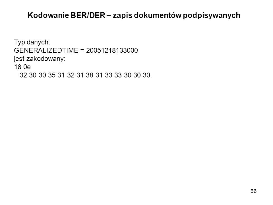 Kodowanie BER/DER – zapis dokumentów podpisywanych