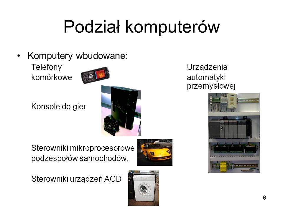 Podział komputerów Komputery wbudowane: Telefony Urządzenia