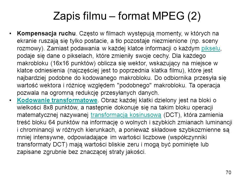 Zapis filmu – format MPEG (2)