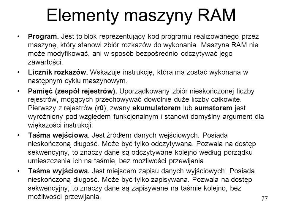 Elementy maszyny RAM