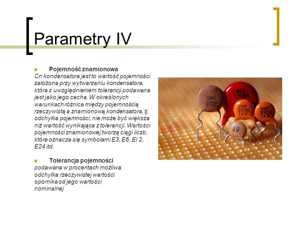 Parametry IV Pojemność znamionowa