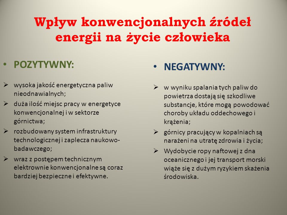 Wpływ konwencjonalnych źródeł energii na życie człowieka