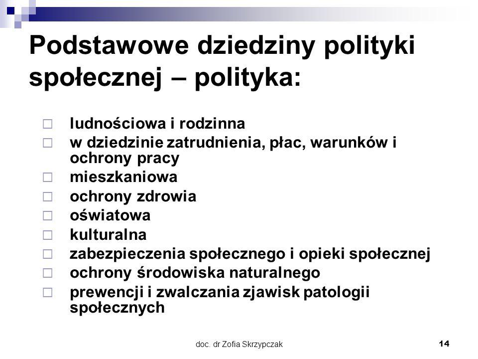 Podstawowe dziedziny polityki społecznej – polityka:
