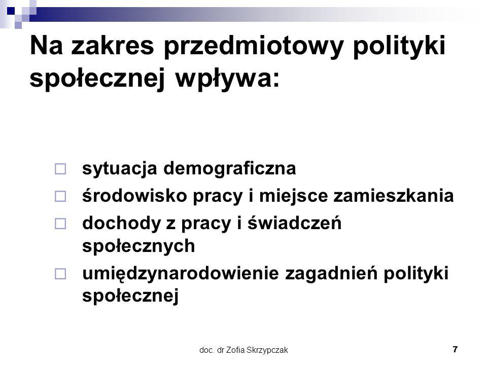 Na zakres przedmiotowy polityki społecznej wpływa: