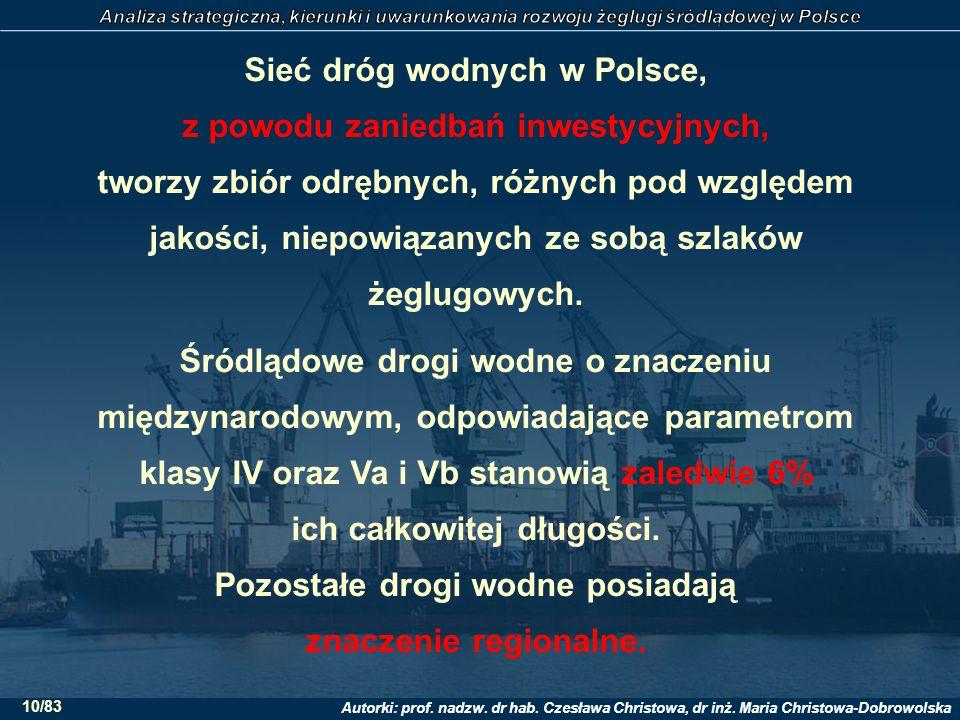 Sieć dróg wodnych w Polsce, z powodu zaniedbań inwestycyjnych, tworzy zbiór odrębnych, różnych pod względem jakości, niepowiązanych ze sobą szlaków żeglugowych.